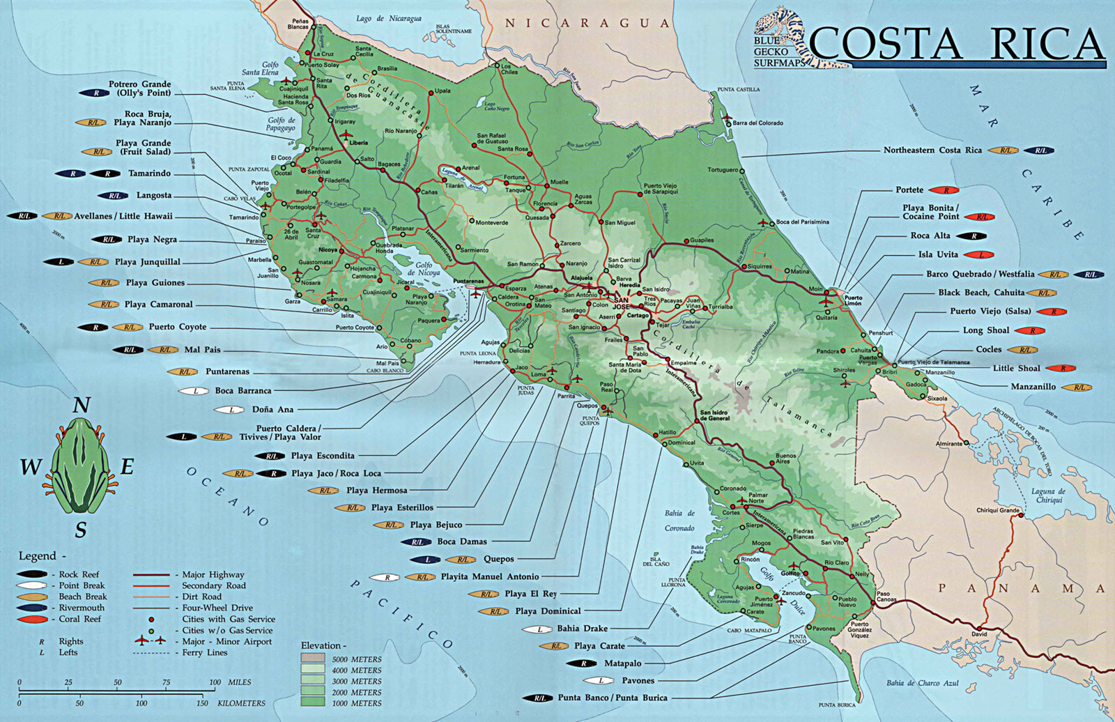 Costaricasurfmap - Map of costa rica